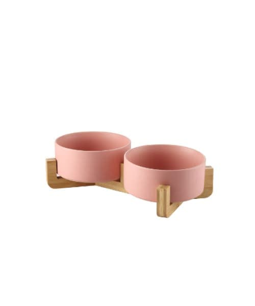 Japanese Raised Feeding Double Bowls For Cats & Dogs - Pink / Large - Comfort Supplies