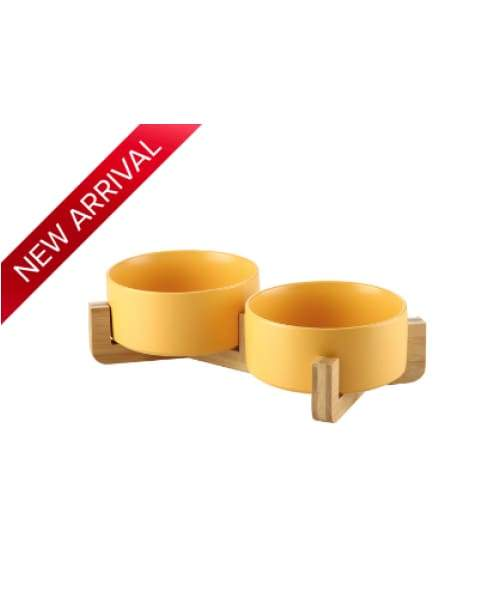 Japanese Raised Feeding Double Bowls For Cats & Dogs - Yellow / Large - Comfort Supplies
