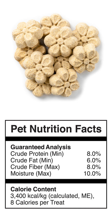 Flower Shaped Crunchy Treats with low calories and Nutrition for dog's health.
