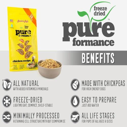 Grandma Lucy's Pureformance Freeze-Dried Grain Free Chicken Dog Food is all-natural, minimally processed, to all life-stages.
