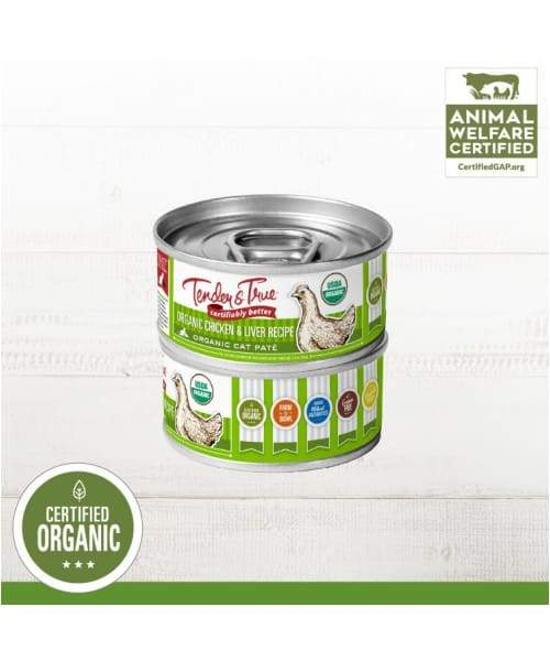 Tender & True Organic Chicken & Liver Recipe Wet Cat Food - Single can 5 oz / 0.14 kg - Cat Food