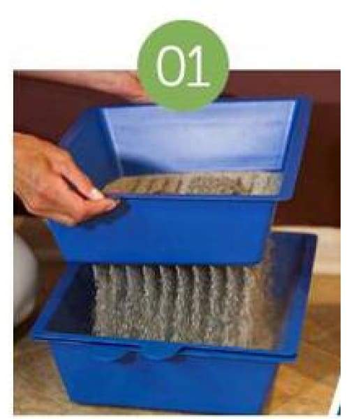 Volar Fashion 3 Tray Self Sifting Litter Box For Pet - Blue - Pet Supplies