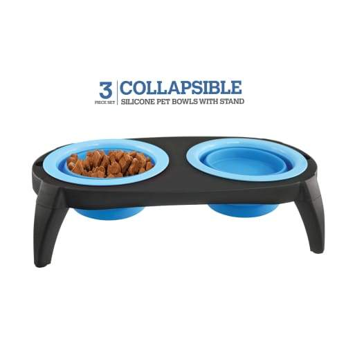 Volar Fashion Collapsible Silicone Bowl Set For Dog/Cat - Blue - Comfort Supplies