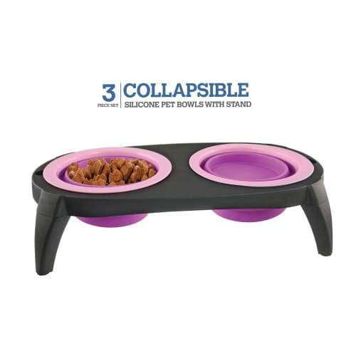 Volar Fashion Collapsible Silicone Bowl Set For Dog/Cat - Pink - Comfort Supplies