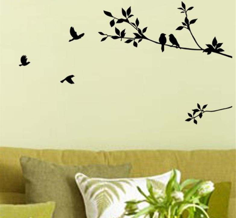 birds on branches self-adhesive wall decal - nature unboxed