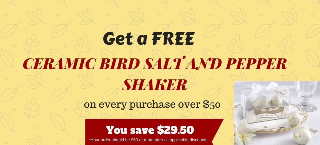 Free Ceramic Birds Salt and Pepper Shaker on every purchase over $100
