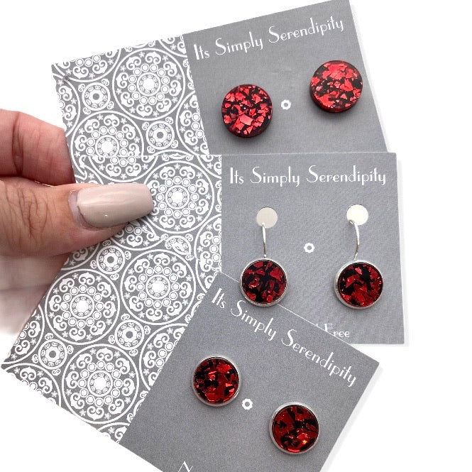 Statement Studs - Shimmers Shards - Red