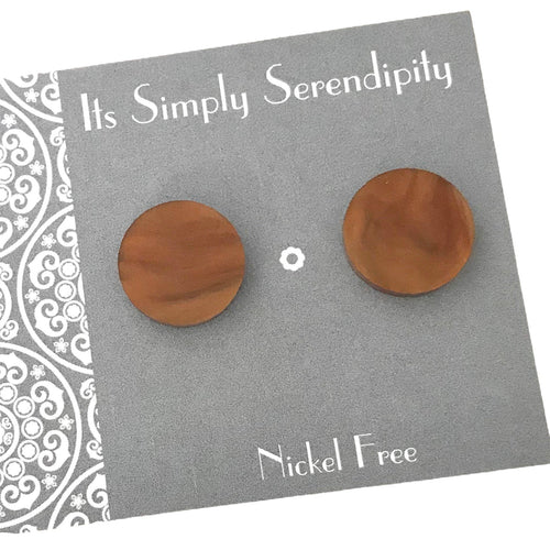 Statement Studs - Brown Marble
