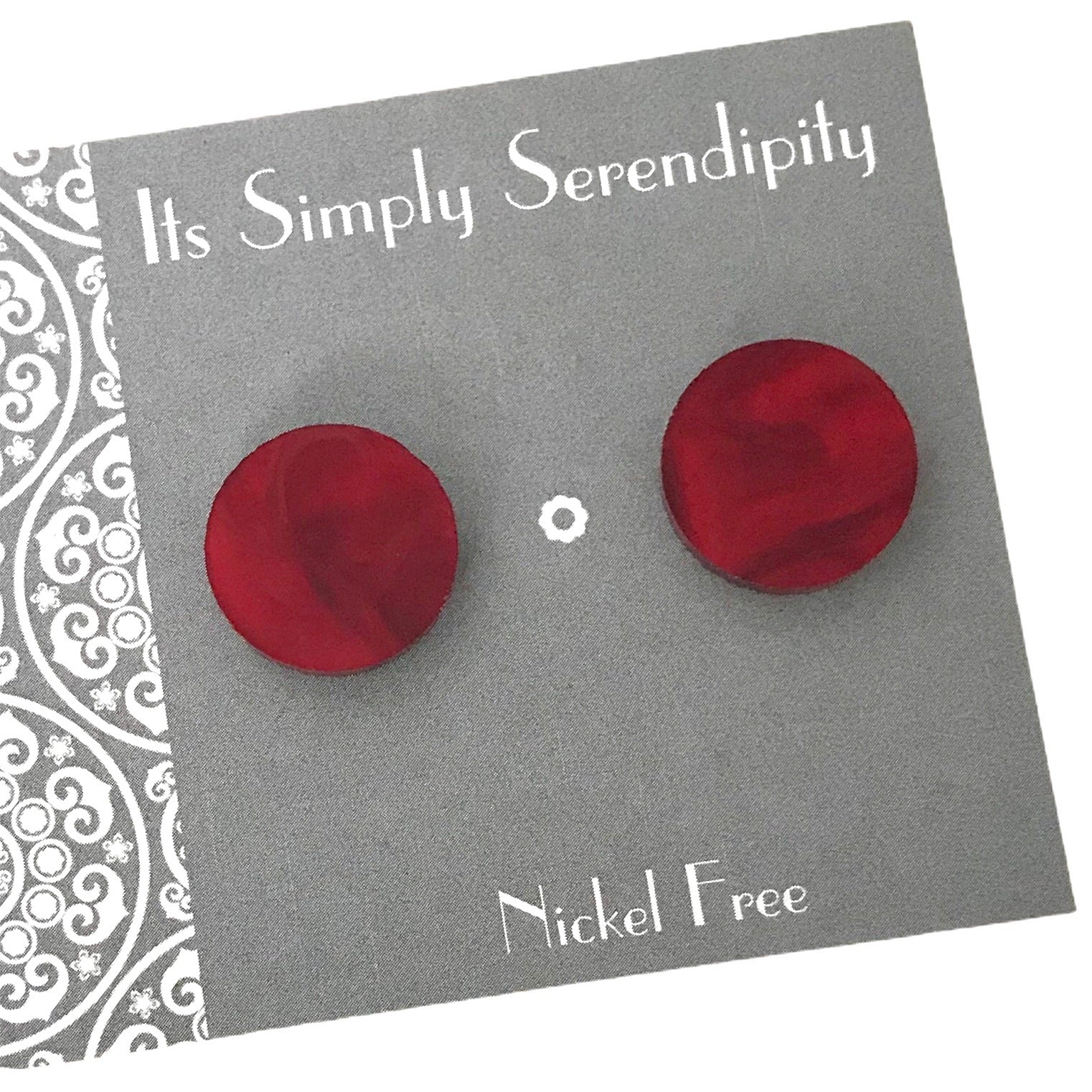 Statement Studs - Red Marble