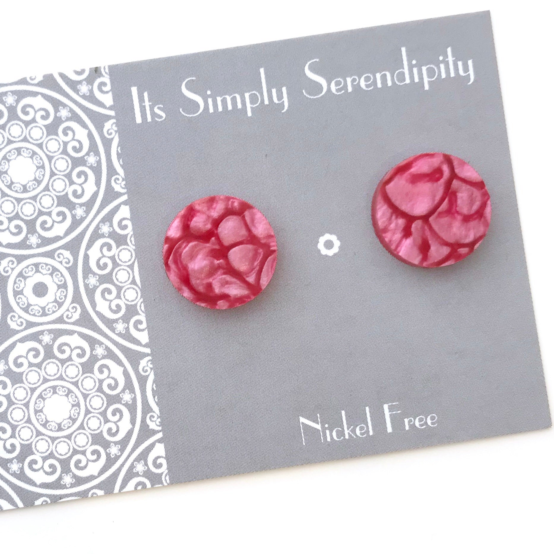 Statement Studs • Coral • Pink •
