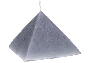 Hieroglyphic Pyramid Candle in Gray