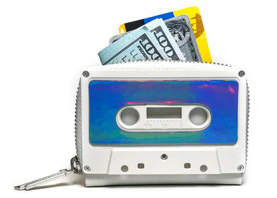 Retro Cassette Tape Wallet in Matte White