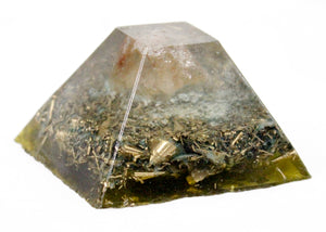 Smoky Quartz & Shungite Green Orgone Energy Ziggurat