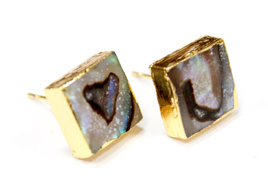 Square Abalone Paua Shell Stud Earrings