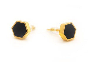 Black Hexagon Stud Earrings