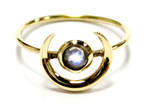Crescent Moonstone Ring in Brass