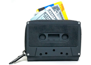 Retro Cassette Tape Wallet in Matte Black