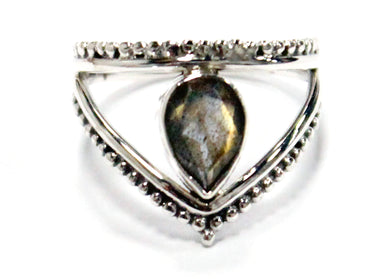 Teadrop Crown Ring in Sterling Silver & Labradorite