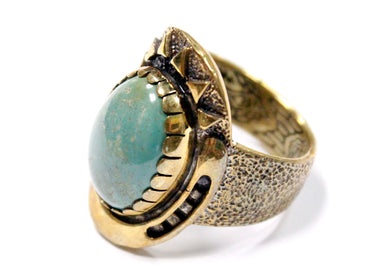 Good Karma Ring in Brass & Turquoise