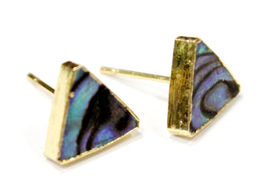 Triangle Abalone Paua Shell Stud Earrings