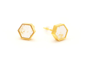 White Speckled Hexagon Stud Earrings