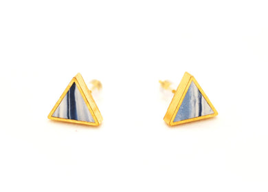 Navy Marbled Triangle Stud Earrings