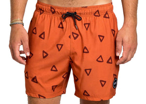 Recycled Swim Trunks in Rust Ziggy Print