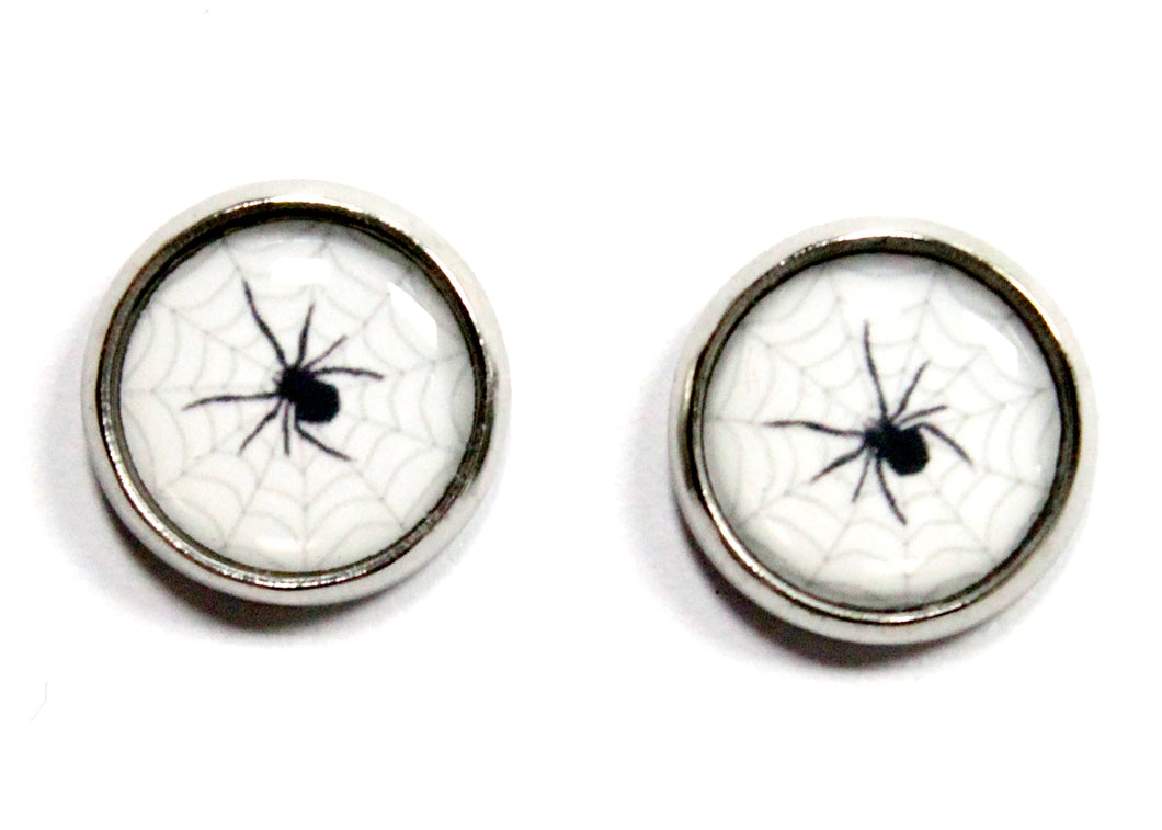 Spider Web Round Stud Earrings