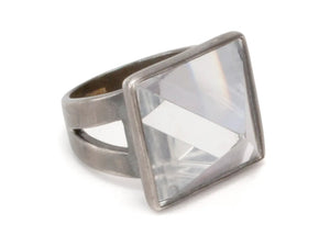 Quartz Crystal Pyramid Ring