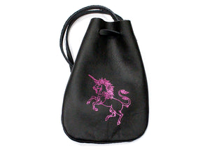 Unicorn Leather Pouch in Black with Pink Accent