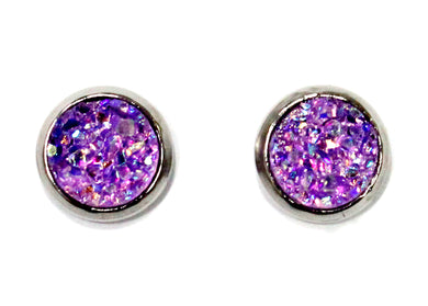 Violet Purple Druzy Crystal Stud Earrings in Stainless Steel