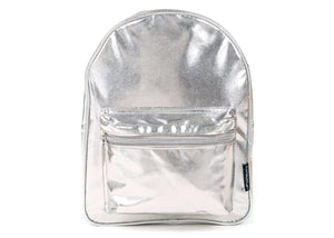 Mini Backpack in Metallic Silver