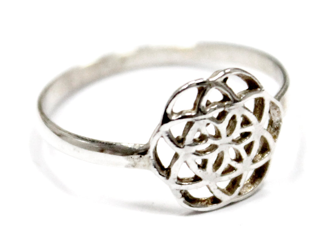 Mini Seed Of Life Ring In Sterling Silver