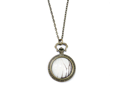White Butterfly Wing Pocketwatch Necklace