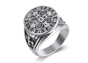 Saint Benedict Exorcism Ring in Stainless Steel