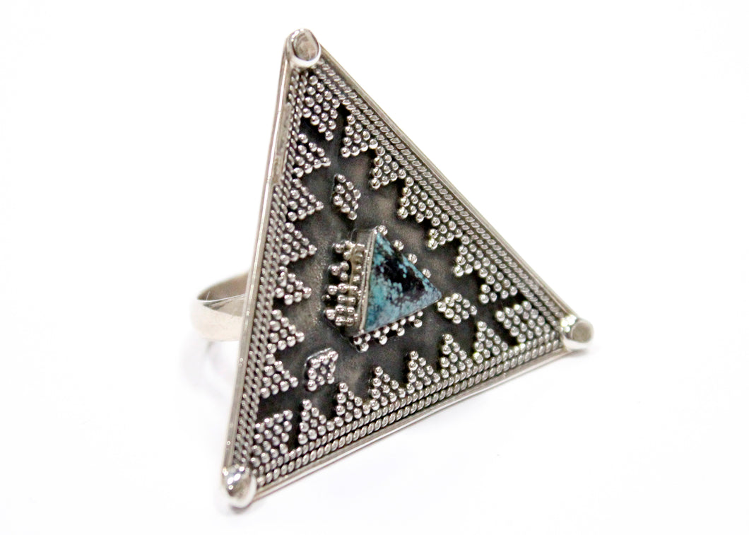 Marcasite Triangle Turquoise Ring In Sterling Silver