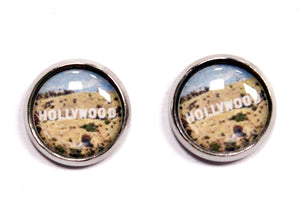 Hollywood Sign Round Stud Earrings