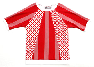 Octozoid T-Shirt in Red Geo Stripe