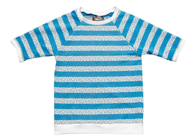 Angled Raglan Short Sleeve Tee in Blue Music Stripe