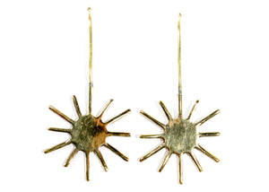 Sun Drop Earrings in Brass