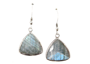 Labradorite Triangle Earrings