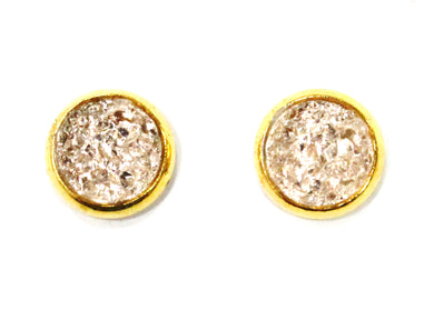 Crepe Pink Druzy Crystal Stud Earrings in Gold Plated