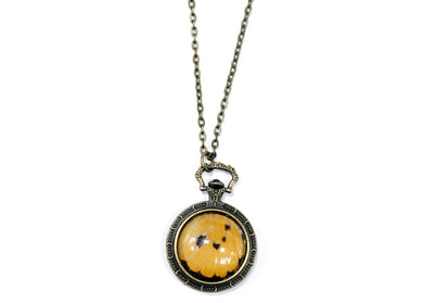 Orange Butterfly Wing Pocketwatch Necklace