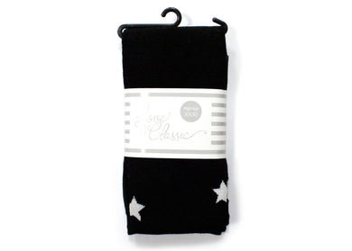 Micro Modal Cotton Thigh High Socks In Black Stars