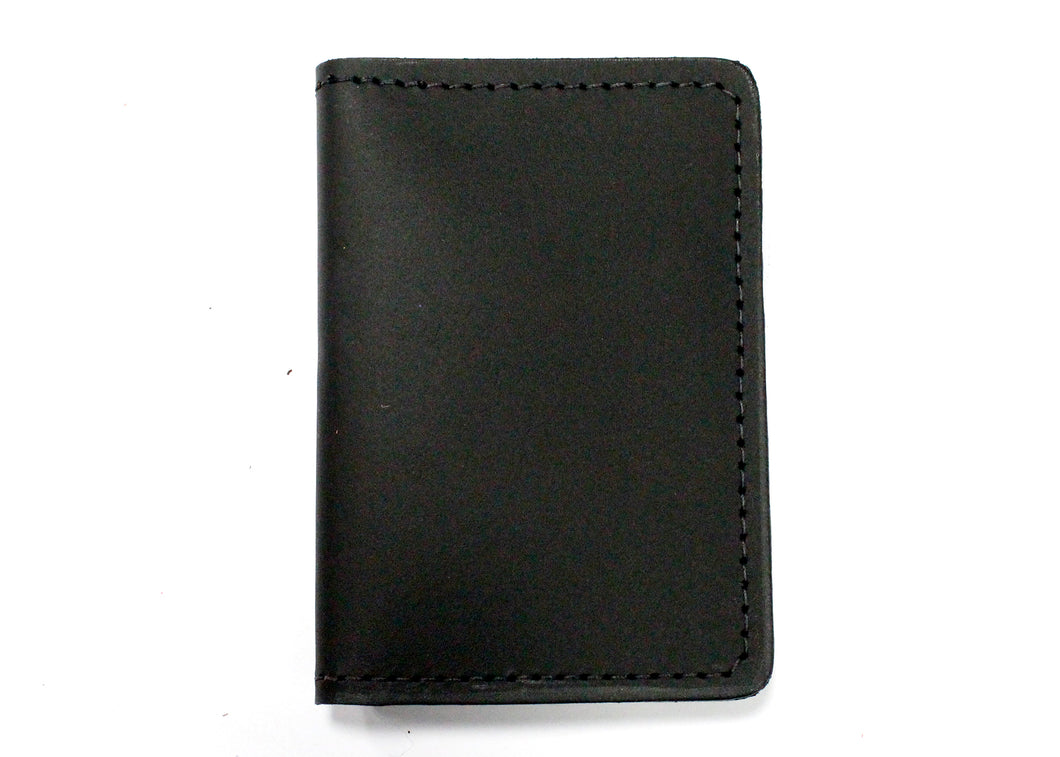 Leather ID & Card Case Wallet in Black
