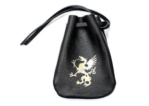 Griffin Leather Pouch in Black