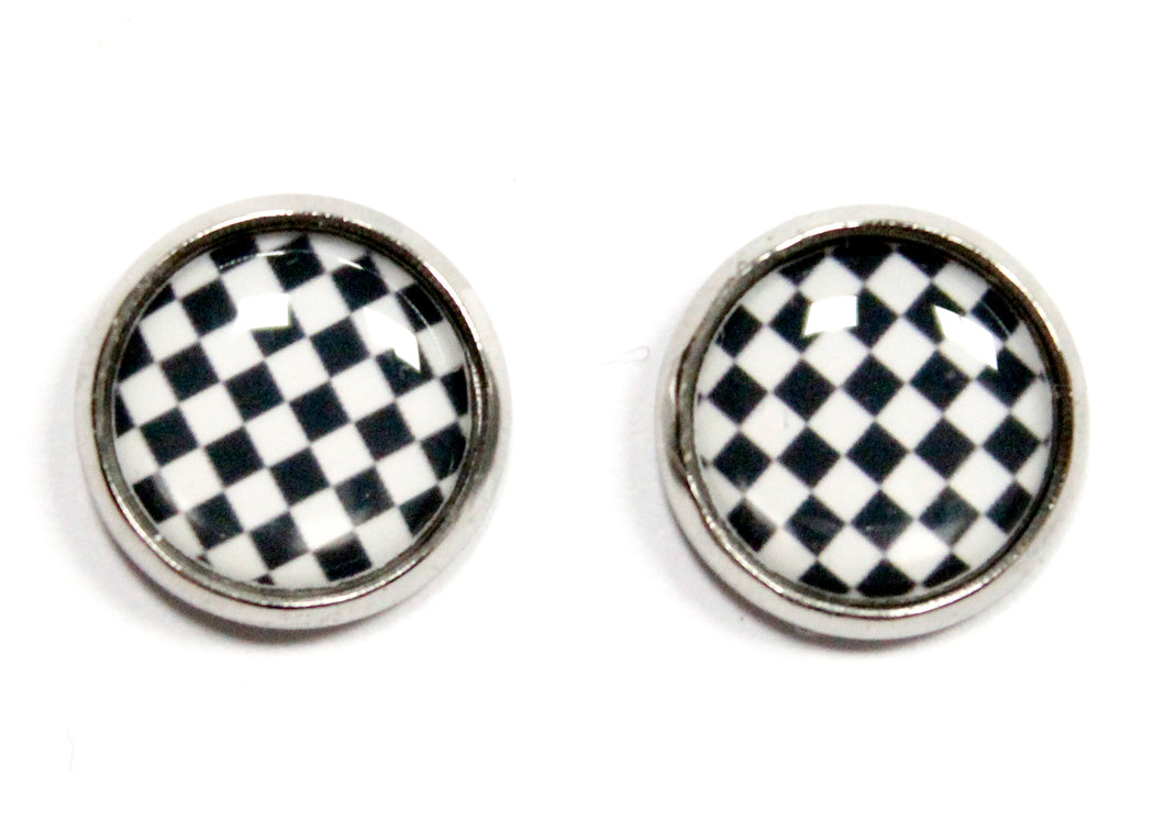 Checkerboard Round Stud Earrings