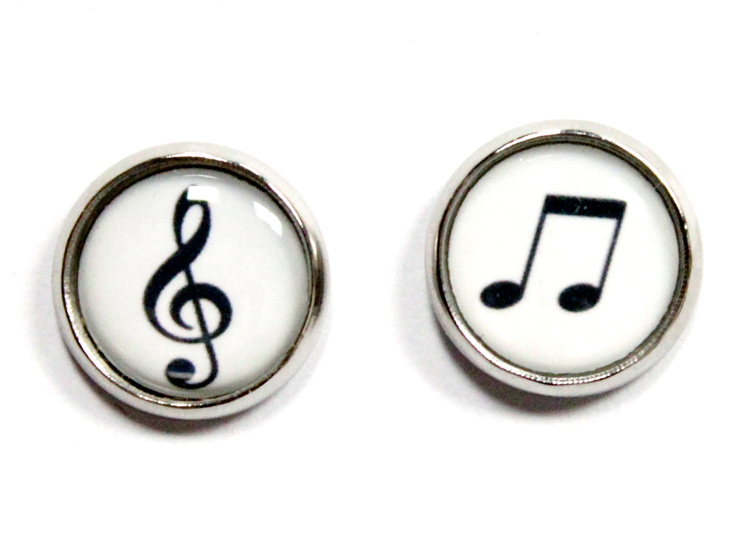Music Note Round Stud Earrings