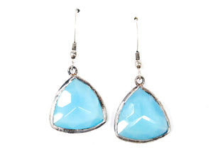 Blue Chalcedony Triangle Earrings