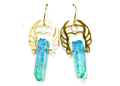 She-Ra Warrior Earrings in Blue-Green Ombre